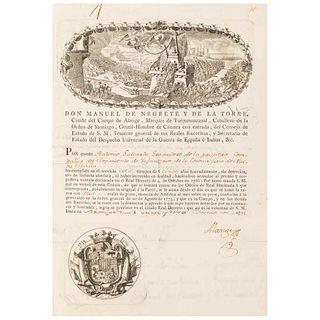 Alange - Revillagigedo - Gutiérrez del Mazo, Ramón. Real Cédula. México, September 16th, 1791. Cover w/2 engravings.