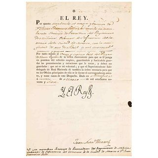 """I, the King (Charles III). Decree. """"Por quanto atendiendo al mérito y servicios de D. Juan Francisco Gallo; Aranjuez: 1797."""