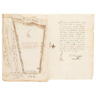 Hidalgo y Barcina, Gerónimo. Constance - Certificate. Cholula, November 6th, 1810. One plan.