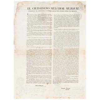 Muzquiz, Melchor - Navarro, Fernando. On the Prohibition of Books and the Freedom Lay of Print. México Sept.24th, 1824.
