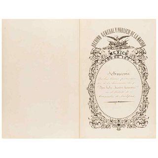 "Morón, Roque J. Testimony of the lands belonging to the Hacienda ""San Pedro Mártir Casasano""... With a plan. México 1875."