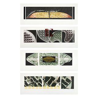 """VÍCTOR GUADALAJARA,a)Mohicano-Dividido,b)Mezquite,c)Semilla-cerebro,d)Laberinto, Signed & Dated 04, 6.8 x 27"""" (17.5 x 69 cm each), Pieces: 4"""