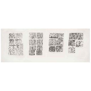 """GILBERTO ACEVES NAVARRO, Adán y Eva, Signed and dated 06, Engraving P / A, 34.2 x 11.8"""" (87 x 30 cm)"""