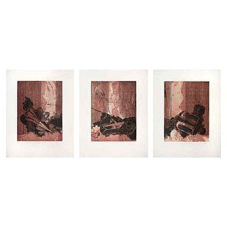 """LUCIANO SPANÓ, I) L'Emile Rosseau II) L'Emile Rosseau III) L'Emile Rosseau, Signed & Dated 16, Engravings,15.5x 11.6""""(39.5x29.5 cm each),Pieces: 3"""