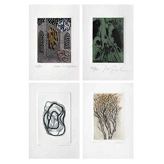 """PEDRO FRIEDEBERG, ROGER VON GUNTEN, GILDA CASTILLO & PILAR BORDES, Artistas en México, Grabados 38 / 50, 3.5 x 2.7"""" (9 x 7 cm), Pieces: 3"""