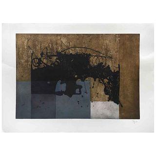 """MANUEL FELGUÉREZ, El suspenso de la mancha, 2017, Signed, Aquatint sugar etching P. I., 23.6 x 34.2"""" (60 x 87 cm)"""