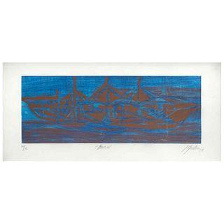 "GABRIEL MACOTELA, Barco, Signed and dated 17, Aquatint 21 / 30, 9 x 23.2"" (23 x 59 cm)"
