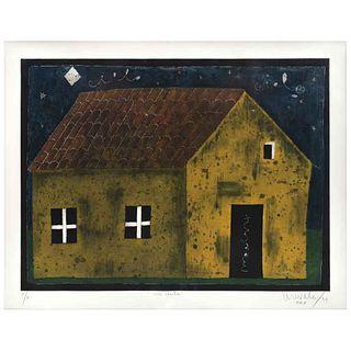 "JAVIER ARÉVALO, Mi casita, Signed and dated Mex 94, Aquatint P / A, 21.6 x 28.7"" (55 x 73 cm)"