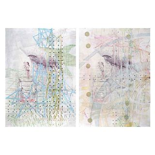 """ORLANDO DÍAZ , Untitled, Signed, Intervened serigraphs w/o printing numbers, 27 x 19.4"""" (69 x 49.5 cm), Pieces: 2"""
