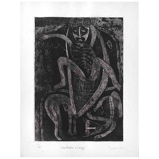 "FRANCISCO TOLEDO, Invitación al viaje, Signed, Aquatint 10 / 20, 13.7 x 9.8"" (35 x 25 cm)"