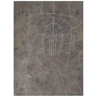 """RUFINO TAMAYO, Cabeza en fondo gris, 1979, Signed, Etching 67 / 99, 29.9 x 22"""" (76 x 56 cm)"""