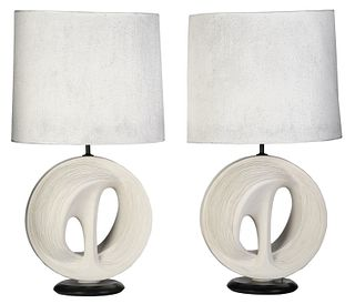 Pair of Modern Sculptural Plaster Table Lamps