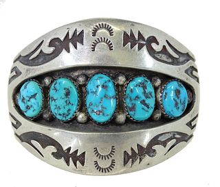 Navajo Turquoise & Sterling Silver Cuff Shadowbox