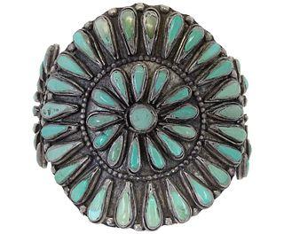Zuni Turquoise & Sterling Silver Cuff Bracelet