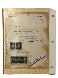 Autographed Winston Churchhill Signed 1963 Thank Y