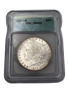 1891-S Morgan Silver Dollar Graded MS 63