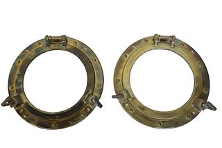 Pair of Brass Submarine Window Portholes