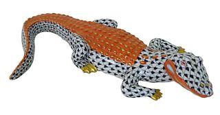 Herend Porcelain Black Fishnet Alligator Figurine