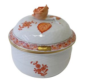 Herend Chinese Bouquet Rust Porcelain Lidded Sugar