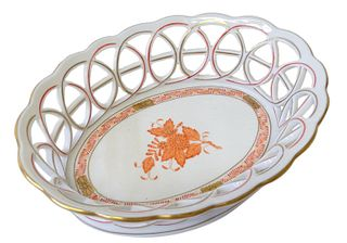 Herend Chinese Bouquet Rust Porcelain Tray