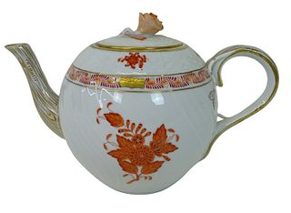 Herend Chinese Bouquet Rust Porcelain Teapot