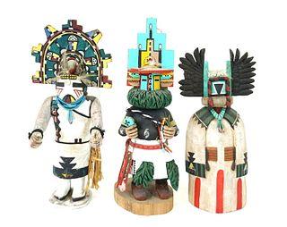 Three (3) Hopi Kachina Native American Dolls