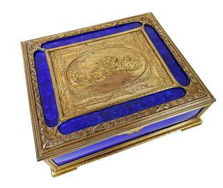 French Gilt Bronze & Cobalt Blue Enamel Jewelry