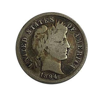 1894 Barber Dime Silver Coin