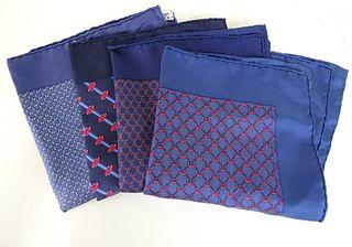 Four (4) Hermes Pocket Squares