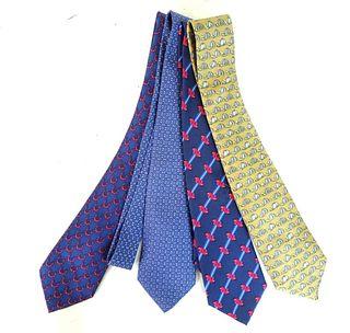 Four (4) Hermes Ties