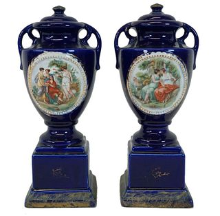 Pair of English Cobalt Blue Porcelain Urns