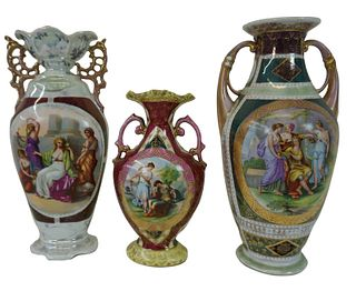 Three (3) Royal Vienna Style Porcelain Vases