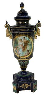 Royal Vienna Style Cobalt Blue Lidded Urn
