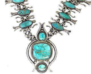 Navajo Squash Blossom Turquoise & Sterling Silver
