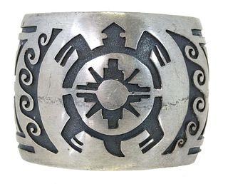 Hopi Traditional Sterling Silver Cuff Bracelet