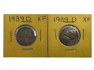 Two 1939-D Jefferson Nickels