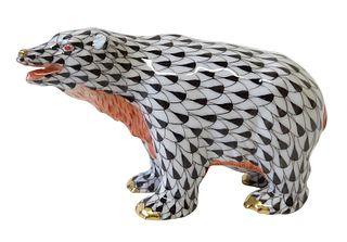 Herend Porcelain Black Fishnet Bear Figurine