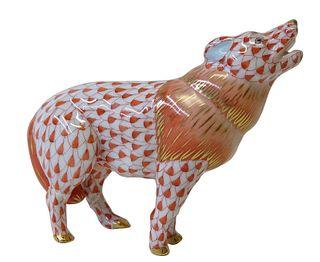Herend Porcelain Red Fishnet Wolf Figurine