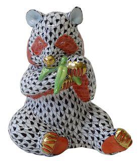 Herend Porcelain Black Fishnet Panda Bear Figurine