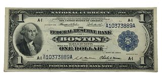 1918 One Dollar Federal Reserve Bank Note Boston F