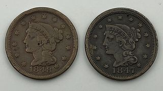 Lot of Two Large Cents 1847 and 1848 Coins