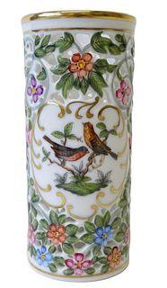Herend Rothschild Bird Porcelain Perforated Vase