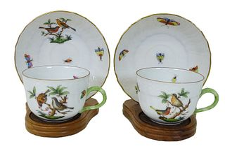 Pair of Herend Rothschild Porcelain Cups & Saucers