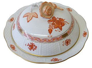 Herend Chinese Bouquet Rust Porcelain Lidded Tray