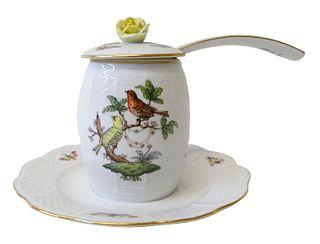 Herend Rothschild Bird Porcelain Sugar with Ladle