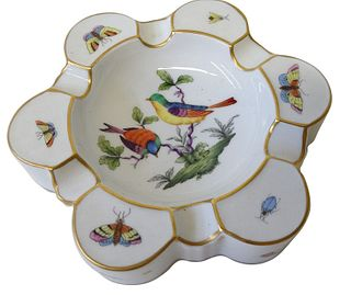 Herend Rothschild Bird Porcelain Ashtray
