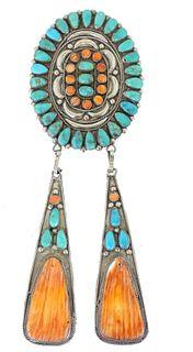 Navajo Turquoise & Orange Oyster Shell Pendant