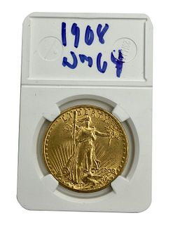 1908 St. Gaudens $20 Double Eagle Gold Coin