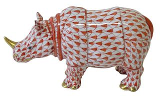 Herend Porcelain Red Fishnet Rhinoceros Figurine