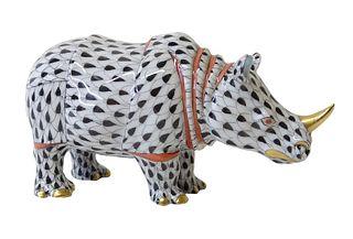 Herend Porcelain Black Fishnet Rhinoceros Figurine